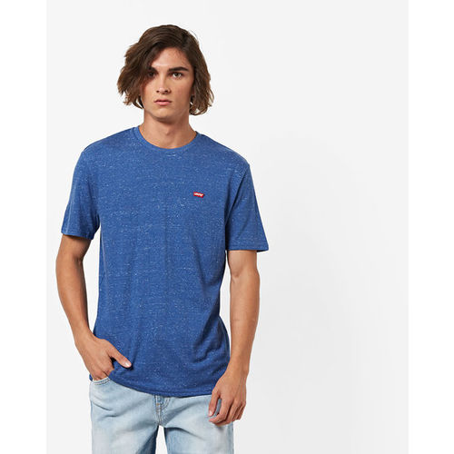 baeeeb125e20 Buy Levis Blue Self Design Regular Fit Round Neck T-Shirt online ...