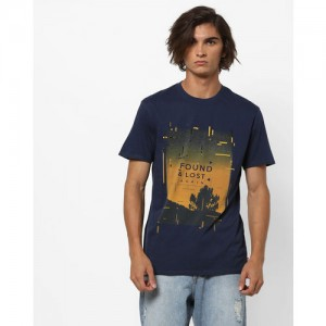LEVIS Blue Cotton Graphic Print Crew-Neck T-shirt
