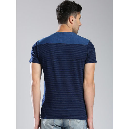 Levis Navy Blue Cotton Striped Round Neck T-Shirt
