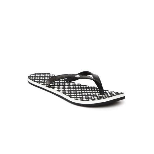Adidas Women Black & White EEZAY Polka Dot Print Thong Flip-Flops