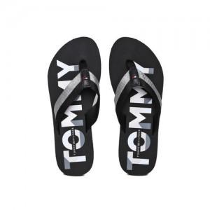 21d952e966feb Tommy Hilfiger Women Black   Grey Printed Glitter Strap Beach Thong Flip- Flops