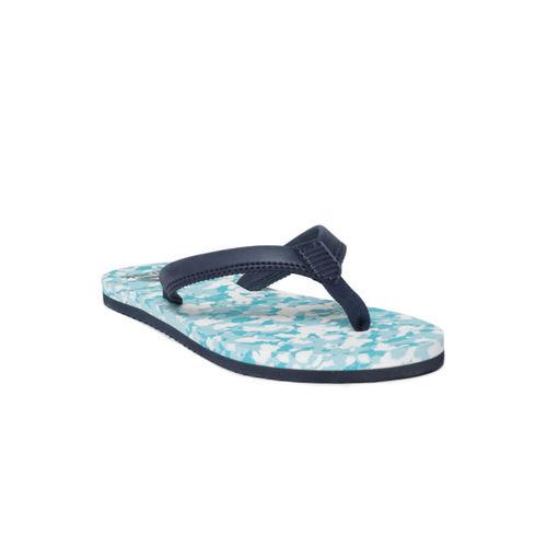 75d5f15751ec Buy Reebok Women Teal   Navy Blue Printed DAMSEL Thong Flip-Flops ...