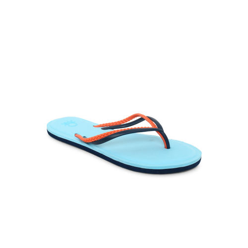 United Colors of Benetton Women Turquoise Blue & Peach-Coloured Solid Thong Flip-Flops
