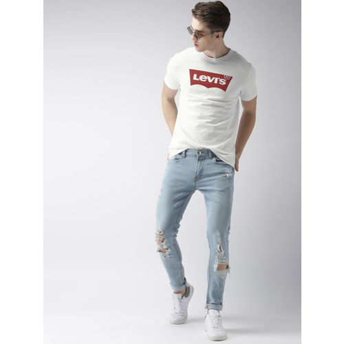 Levis White Cotton Printed Regular Fit Round Neck T-shirt