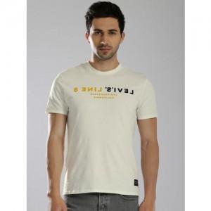 Levis Off White Cotton Printed Regular Fit Round Neck T-Shirt