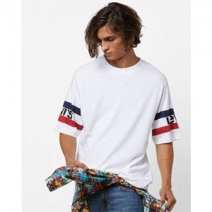Levis White Cotton Striped Round Neck T-Shirt