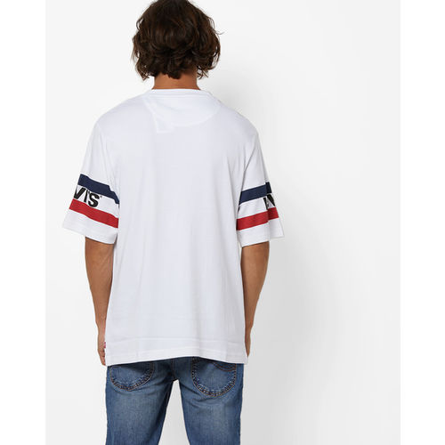 Levis White Cotton Striped Round Neck T-Shirt