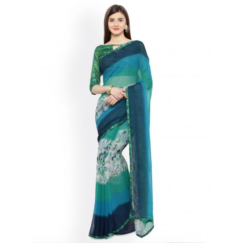 Shaily Green & Turquoise Blue Pure Georgette Printed Saree With Blosue