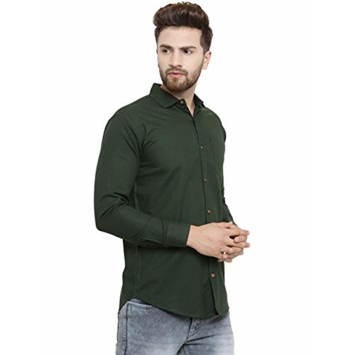 96077e2ec71 ... Pacman Olive Green Slim Fit Cotton Smart Formal Shirt SHFS0088 ...