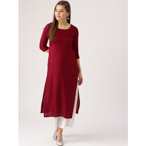 Libas Women Maroon Woven Design Straight Kurta