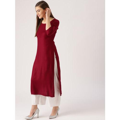 Libas Women Maroon Woven Design Straight Kurta