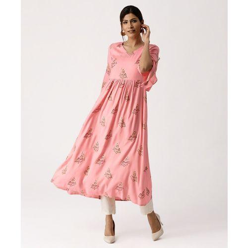 Libas Women's Printed Anarkali Kurta(Pink)