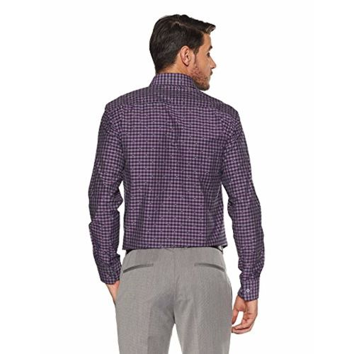 Park Avenue Purple Synthetic Solid Slim Fit Formal Shirt