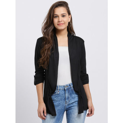 Trend Arrest Black Solid Open Front Shrug