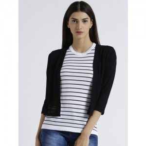 Manola Black Self Design Open Front Shrug