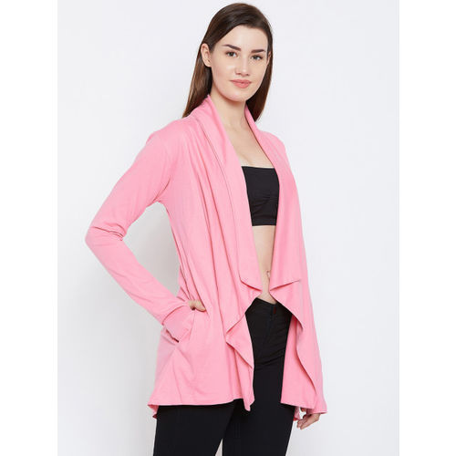 Hypernation Pink Solid Waterfall Shrug