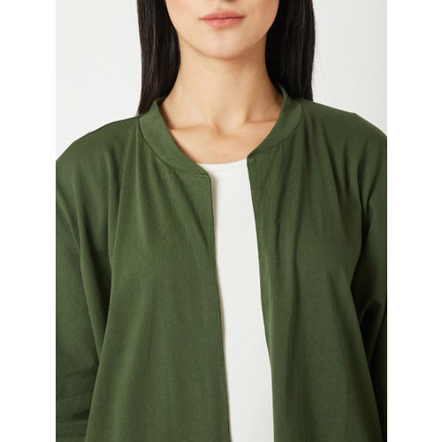 Miss Chase Olive Green Solid Open Front Shrug