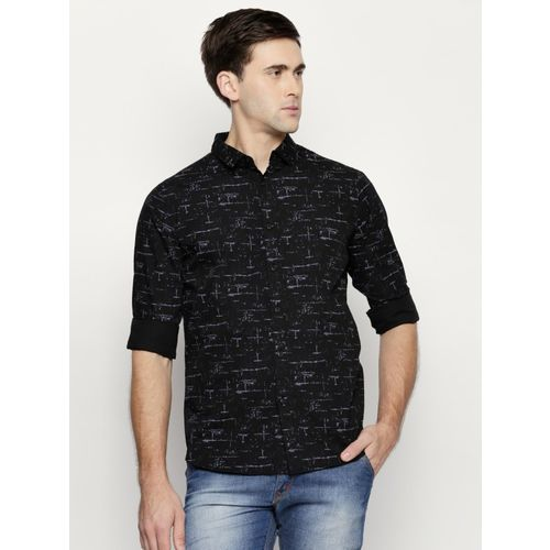 Dennis Lingo Men Printed Casual Black Shirt