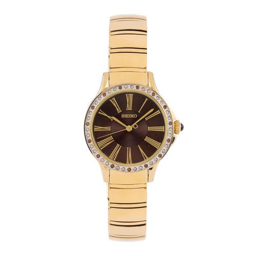 SEIKO Women Black Stone-Studded Dial Watch SRZ444P1