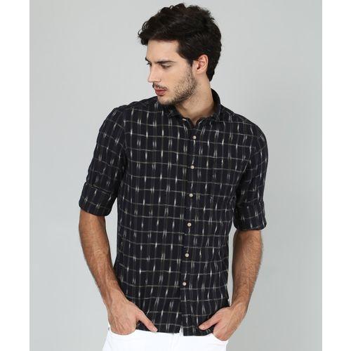Flying Machine Men Checkered Casual Black Shirt