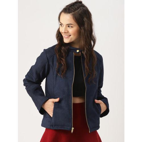 d8f105dff94 Buy DressBerry Women Navy Blue Solid Biker Jacket online | Looksgud.in