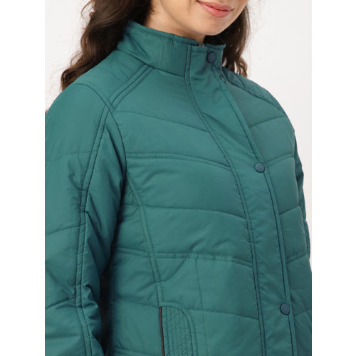 DressBerry Women Teal Blue Solid Padded Jacket