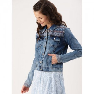 DressBerry Women Blue Washed Embroidered Denim Jacket