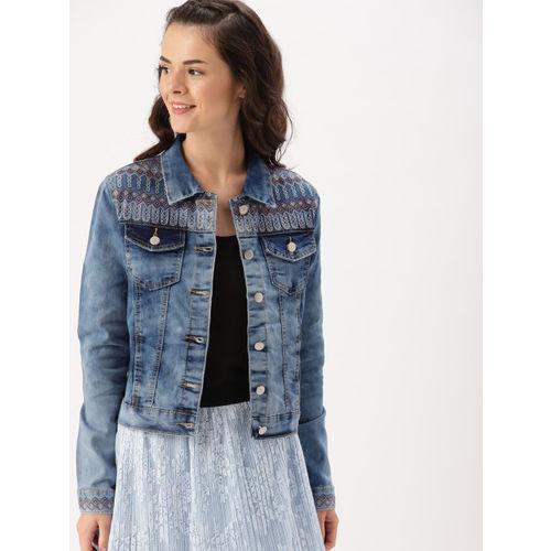 DressBerry Women Blue Washed Embroidered Denim Jacket