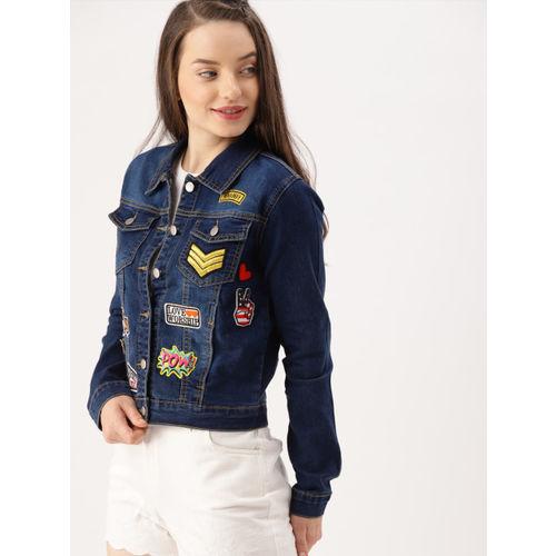 DressBerry Women Blue Patchwork Denim Jacket