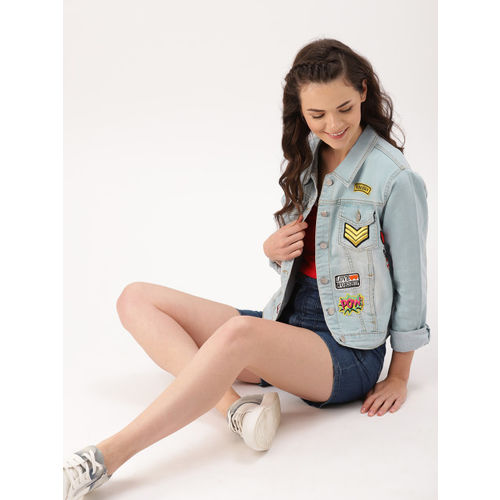 DressBerry Women Blue Washed Patchwork Denim Jacket