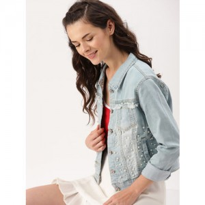 DressBerry Women Blue Washed Embellished Denim Jacket