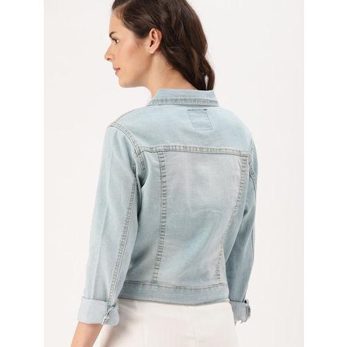 DressBerry Women Blue Washed Embellished Denim Jacket