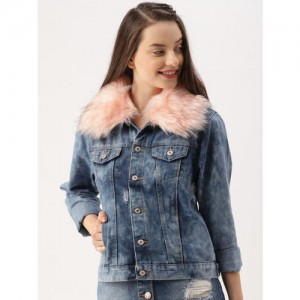 DressBerry Women Blue Washed Distressed Denim Jacket with Detachable Faux Fur Collar
