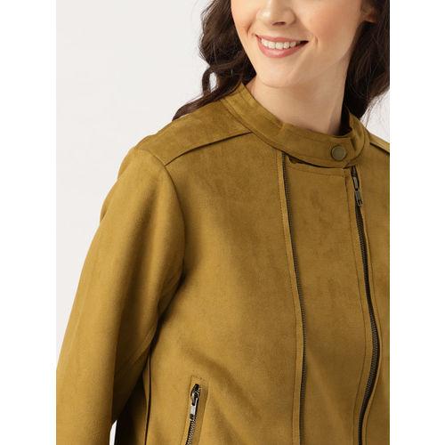 DressBerry Women Tan Solid Biker Jacket