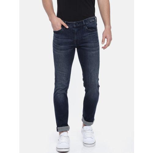 01c891729de ... Calvin Klein Jeans Men Blue Skinny Fit Mid-Rise Low Distress  Stretchable Jeans ...