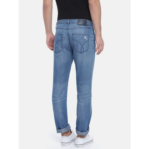 Calvin Klein Jeans Men Blue Slim Straight Fit Mid-Rise Clean Look Jeans