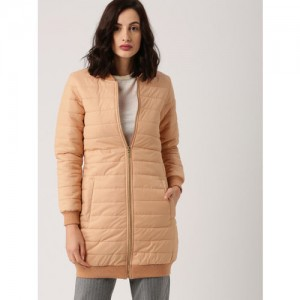 all about you Women Peach-Coloured Solid Puffer Jacket