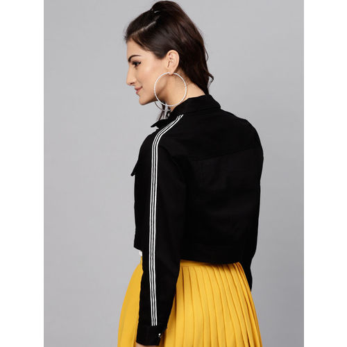 STREET 9 Women Black Solid Cropped Tailored Jacket