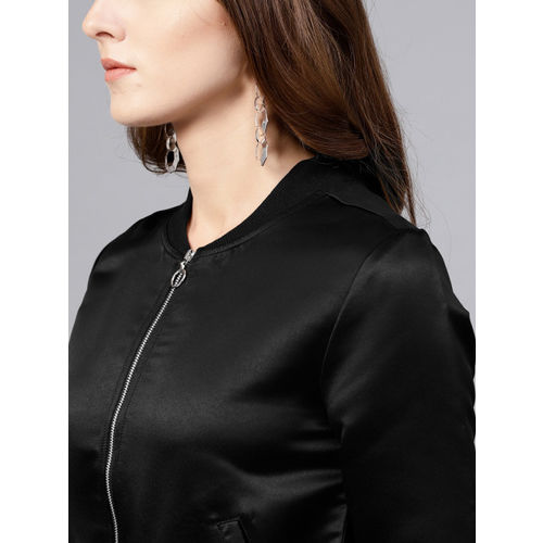 STREET 9 Black Solid Satin Bomber Jacket