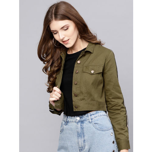 STREET 9 Olive Green Solid Crop Jacket