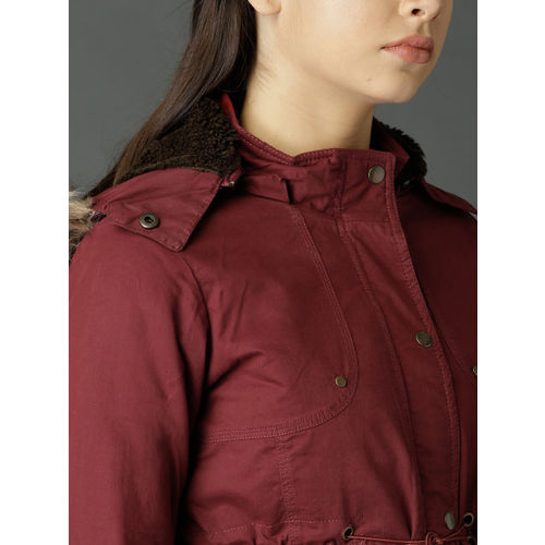 Roadster Women Maroon Solid Hooded Parka Jacket