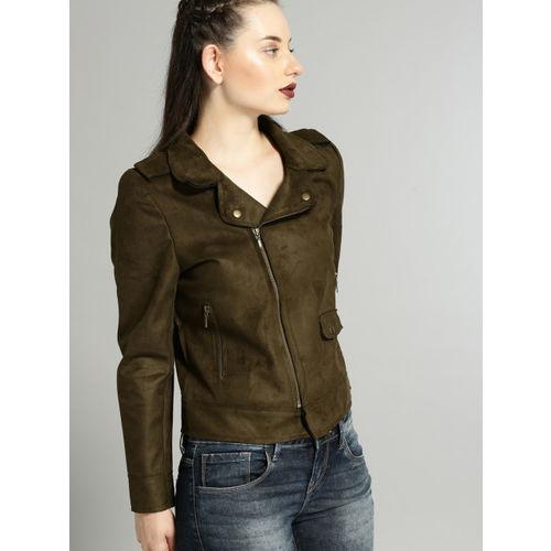 Buy Roadster Women Olive Green Solid Biker Jacket Online Looksgud In