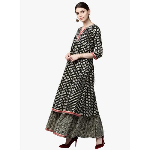 GERUA Women Cream-Coloured & Black Printed Kurta with Skirt