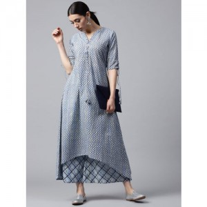 GERUA Women Blue Printed Kurta with Palazzos