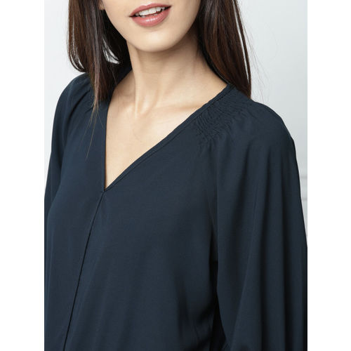 all about youfrom Deepika Padukone Women Navy Blue Solid Blouson Top