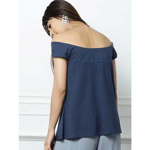 all about you from Deepika Padukone Women Blue Solid Bardot Top
