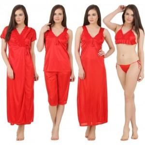 Fasense Red Satin Silk Solid Night Wear