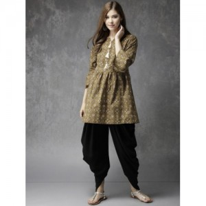 Anouk Olive Green & Black Printed Kurti with Dhoti Pants
