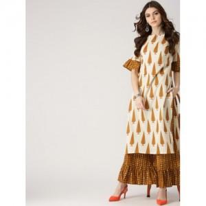 Libas Women Off-White & Mustard Brown Cotton Printed Kurta with Palazzos