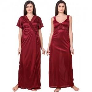 Fasense Maroon Satin Silk Nighty with Robe